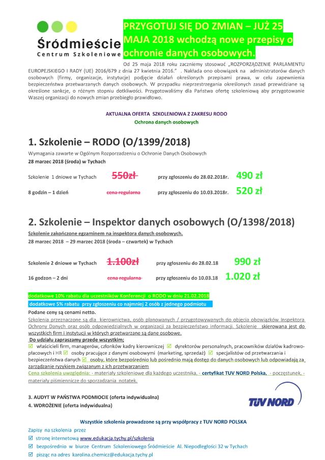 Aktualna oferta szkoleniowa z zakresu RODO