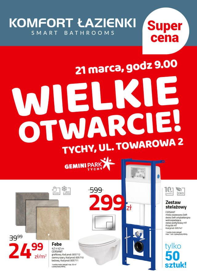 <font color=red>Wielkie otwarcie salonu Komfort Łazienki –  już 21 marca w GEMINI PARK!</font>